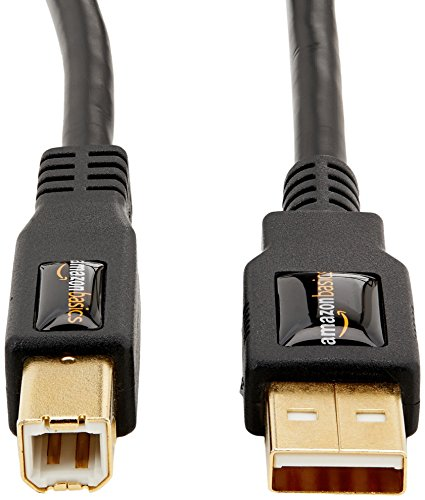 AmazonBasics USB 2.0 Printer Type Cable - A-Male to B-Male - 16 Feet (4.8 Meters)