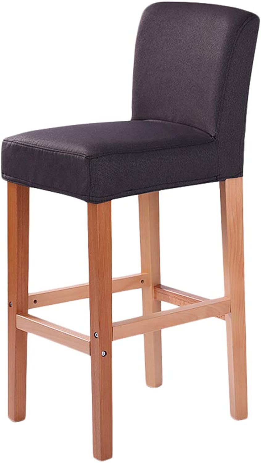 LIQICAI Bar Stool Cotton and Linen Wooden High Legs with Natural Finishes Frame 65 75cm Seat Height, 8 colors Optional (color   Dark Grey, Size   42x41x103cm)