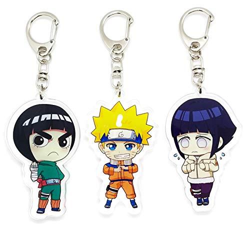 EBTY-Dreams Inc. - Set of 3 Naruto Anime Acrylic Keychain Legendary Uzumaki Naruto, Rock Lee, Hyuuga Hinata