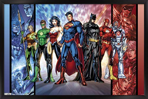 Trends International DC Comics - Justice League - The New 52 Wall Poster, 22.375' x 34', Black Framed Version