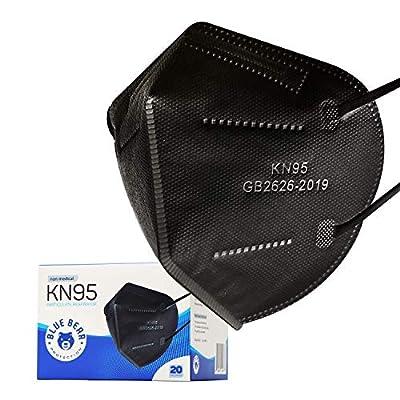 Blue Bear Protection Disposable KN95 Face Masks, Black (20 Pack), Adult Disposable Face Mask, KN95 Masks Disposable, 4 PLY Mask KN95, Face Mask for Adults, Disposable Masks, Face Masks Disposable from Blue Bear Protection