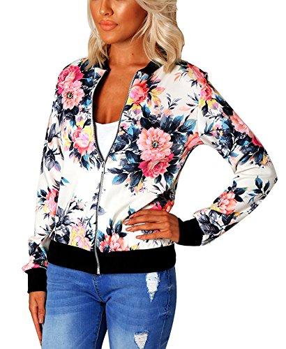 Mojessy Women's Floral Print Classic Quilted Baseball Jacket Fall Short Biker Bomber Jacket Coat,White,Medium