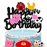 Vikiwiin Farm Cake Topper Ranch Dairy Farm Animals Sanctuary Pig Chicken Tractor Farmer Themed Happy Birthday Cake Decoration for Girl Boy Kids Children Birthday Party Supplies Double Sided