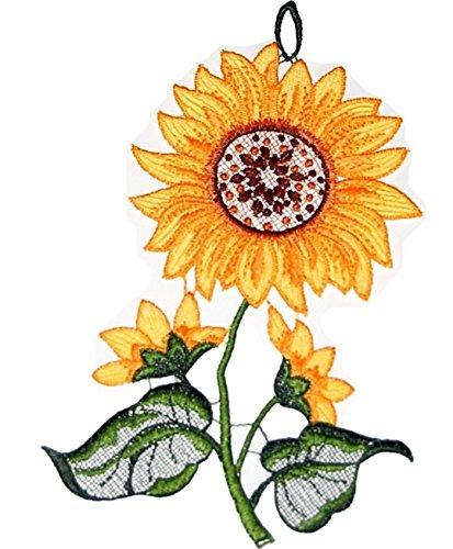 Fensterbild Plauener Spitze Stickerei Sonnenblume Spitzenbild Gelb Grün Fenster-Dekoration Blume Herbstbild 14x24 cm + Sauger
