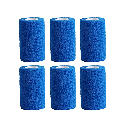 Haftbandage/Selbsthaftende Bandage für Haustiere,6Rollen x 10cm x 4,5m, 10-450cm, himmelblau