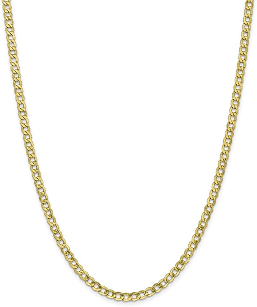 10k Yellow Gold 4.3mm Curb Cuban Link Chain Necklace - with Secure Lobster Lock Clasp