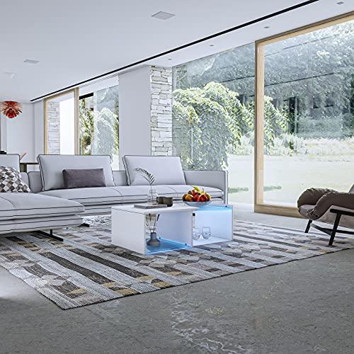 Mesa de centro con luces LED moderna mesa auxiliar de salón con 2 estantes abiertos de almacenamiento muebles para oficina en casa 100 x 55 x 35 cm (blanco)