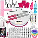 200 Pcs Cake Decorating Supplies Kit for Beginners-1 Cake Turntable Stand with Piping bags and Tips...