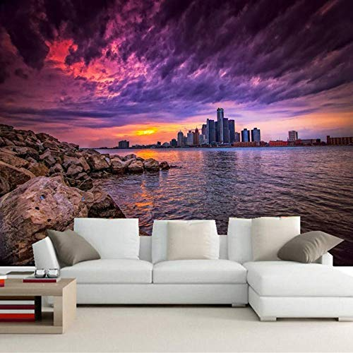 4D Tapeten Wandbilder,Moderne Große Kunst Drucken Sunset Beach Rock Gebäude Natur Landschaft Home Wand Deko Poster Bild Foto Für Schlafzimmer Wohnzimmer Sofa Tv Hintergrund,100In×144In 250Cm(H)