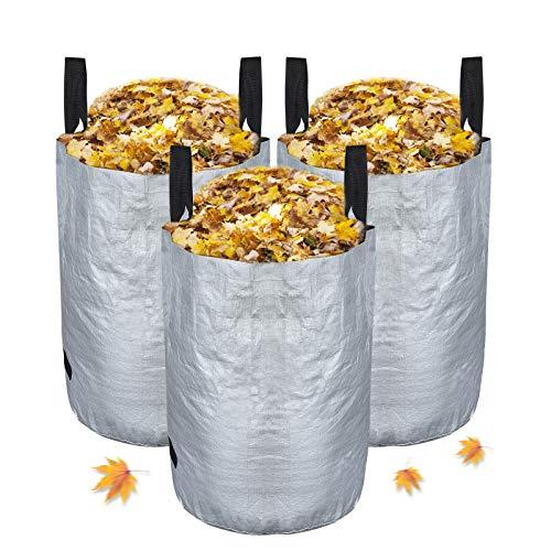 Chalpr 3er Set Gartensack, 100L Gartenabfallsack aus robustem Wasserdichtes Polypropylen-Gewebe (PP) - Selbststehend und Faltbar Laubsäcke (100L)