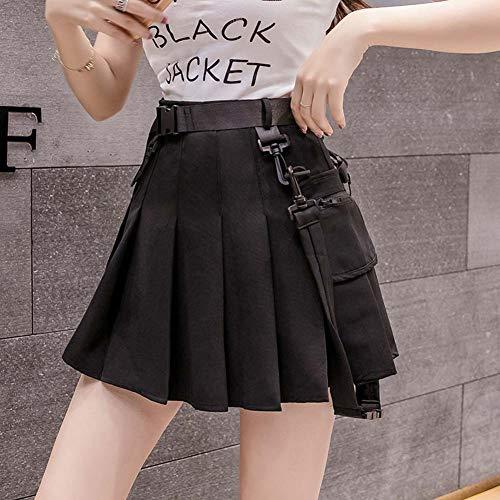 YYH damesrok vouwrok, 2020 New Chiffon A-Line Midi skaterrok knielange rok Large zwart