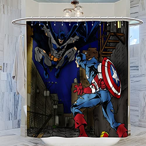 Batman Captain America Duschvorhang, 183 x 183 cm Wasserdichter Badvorhang mit 12 Kunststoffhaken Waschbar Badvorhang