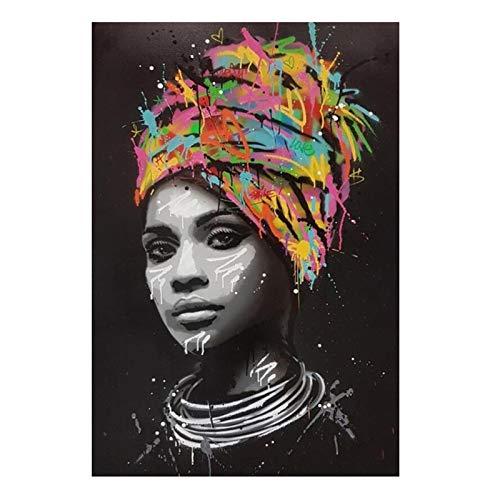 UIGJIOG Pintura de Lienzo decoración de Mujer Africana Negra, Arte de Pared, Cuadro de Fotos sobre Lienzo Carteles e Impresiones, decoración de Dormitorio Salon,60x90cm No Frame