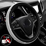 2012 Acura TSX A/C & Heating Parts - New Diamond Leather Steering Wheel Cover with Bling Bling Crystal Rhinestones, Universal Fit 15 Inch Car Wheel Protector for Women Girls,Black