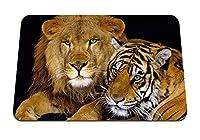 22cmx18cm マウスパッド (大きな猫の捕食者を虎ライオンカップル) パターンカスタムの マウスパッド