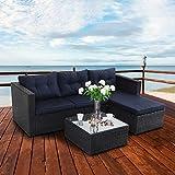 PHI VILLA Outdoor Sectional Rattan Sofa - Wicker Patio Furniture Set (Blue)