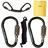 Yuauy 2 pcs Zine-alloy Black Lock Carabiners Resettable 3 Dial Digit Combination Password Code Lock Padlock for Suitcase Luggage Travel Baggage Backpack + Spring Reminder Cable