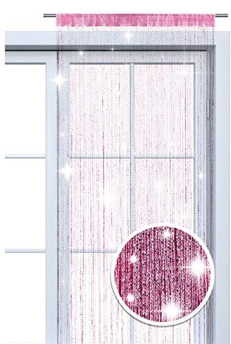 wometo Faden-Vorhang Glitzer-Vorhang OekoTex 90x245 cm - pink-Silber glänzender Deko Schal transparent halbtransparent Weihnachten (pink-Silber)