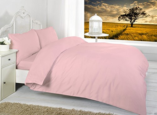 Textile.Plus, lenzuolo con angoli, per letto matrimoniale 1,2m , 50% cotone/ cotone, Pink, 4 FT Fitted
