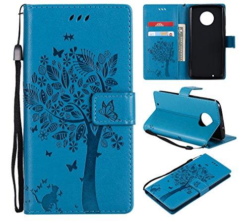 CMID Moto G6 Hülle, PU Leder Brieftasche Handytasche Flip Bookcase Schutzhülle Cover [Kartensteckplatz][Magnetverschluss][Ständer][Handschlaufe] für Motorola Moto G6 (B-Blau)