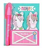 Depesche- Bloc Mini bolígrafo, Miss Melody, Aprox. 8,5 x 7,5 x 1 cm, 2 Notas Adhesivas con 30 Hojas en Forma de Cabeza de Caballo (6963)