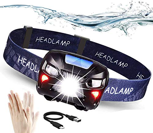 Aukelly Linternas Frontales USB Recargable LED Linterna Cabeza LED,1200mAh,8 Modos,Linterna Frontal Sensor de movimiento,alta Potencia 300LM IPX4 Impermeable Linterna Frontale para Camping,Pesca