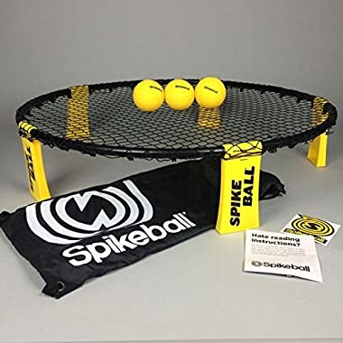 Spikeball 3 Ball Sports Game Set - Outdoor Indoor Gift for Teens, Family - Yard, Lawn, Beach, Tailgate - Includes Playing Net, 3 Balls, Drawstring Bag, Rule Book- As Seen on Shark Tank (3 Ball Set)