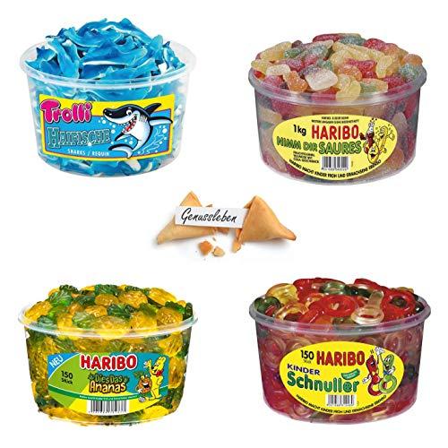 Haribo Trolli 4er Set Bundle Mix Schnuller, Nimm Dir Saures, Dies Das Ananas, Trolli Haifische und 1 Genussleben Glückskeks Gratis