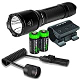 EdisonBright Fenix TK09 2016 900 Lumen Cree LED Tactical Flashlight, ALG-01 Weapon Mount, AER-02 Remote Switch with 2 X CR123A Lithium Batteries Bundle
