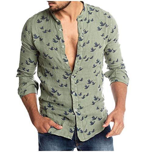 Uomo Camicia Estate, Camicia Hawaiana da Uomo, Camicie Casual,Camicie Uomo Slim Fit Maniche Lunghe Stampato Etnico A Strisce Pulsanti Camicie Uomo Lino Eleganti Fantasia Estiva Camicie da Spiaggia