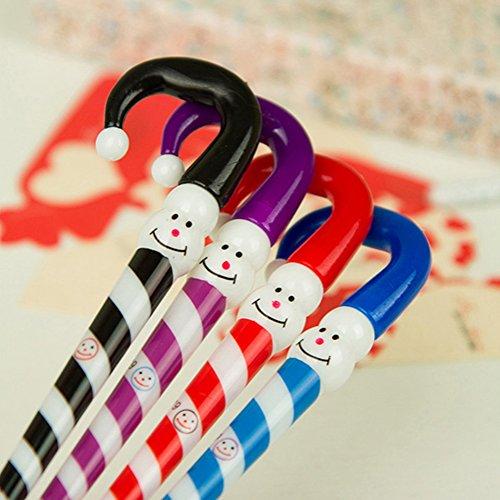 (三月問屋)かわいい 雪だるま 傘型 ボールペン クリスマス プレゼント 4本セット カラー:ランダム