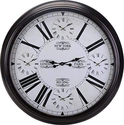 DRULINE XXL Weltzeituhr Wanduhr mit Weltzeiten Schwarz Ø 93cm Metall World Time Clock