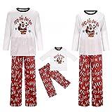 Alueeu Pijamas Navidad para Familias Top+Pantalones Suave y Cómodo Mamá Papá Niños Bebé Manga Larga con Estampado Pijamas Navidenos Pareja riou