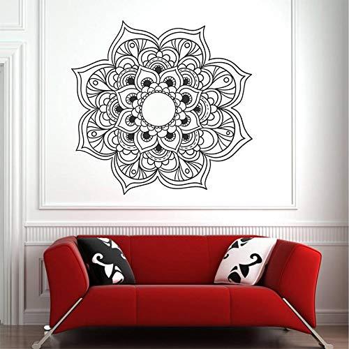 mlpnko Mandala Blume Vinyl Symbol Wandaufkleber Wandtattoo für Raum Yoga Mandala Kunst Wandbild,CJX15842-55x55cm