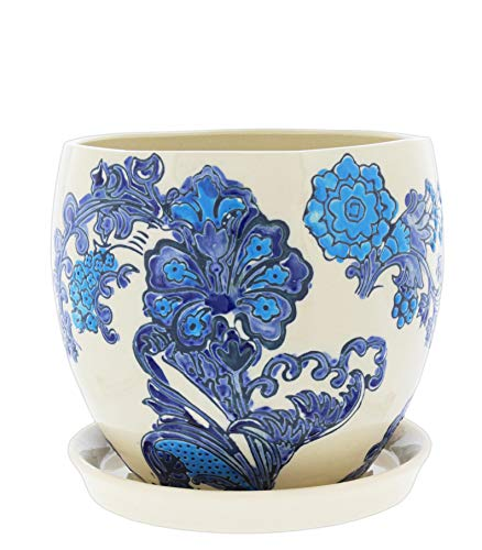 Lucky Winner Ceramic Planter with Floral Delft Pattern and Attached Saucer, 5'