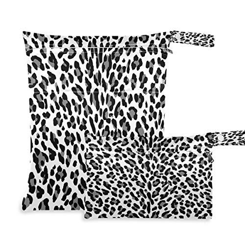 F17 2 bolsas húmedas secas con estampado de animales de leopardo, bolsas de pañales, impermeables, reutilizables para viajes, natación, playa, cochecito, ropa de gimnasio sucio