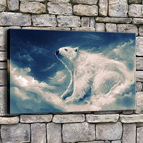 Cyalla Leinwand Poster Wohnzimmer Wandkunst 1 Stück Weiß Eisbär Wolken Malerei Drucke Tiere Abstrakte Bilder Wohnkultur Gerahmte-50X70Cm