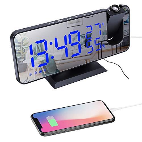 """Projektionswecker, Radiowecker Digitaler Wecker mit FM-Radio, 7\"""" LED Spiegelbildschirm, Dual-Alarm mit USB-Anschluss, 4 Projektionshelligkeit, 180 ° Flip-Anzeige und 12 / 24H (A)"""