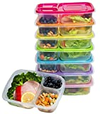 Meal Prep Containers 3-Compartment Lunch Boxes Food Storage Containers with Lids, BPA Free Plastic...
