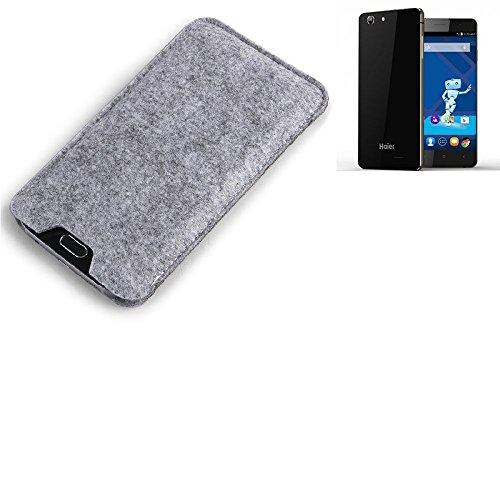 K-S-Trade® Filz Schutz Hülle Für Haier Phone L53 Schutzhülle Filztasche Filz Tasche Case Sleeve Handyhülle Filzhülle Grau