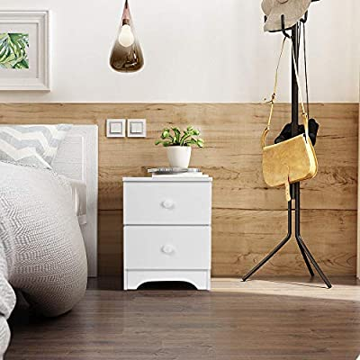 Retro Bedside Table End Table Nightstand with Storage Drawer and Solid Wood Legs Living Room Bedroom Furniture White 11.8 x 12.5 x 17.7 inches