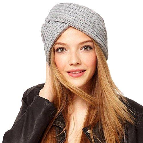 ZUMUii Butterme Warm Crochet Casual Turban Cross Bohemian Indian Style Head Wrap Cap para Mujer Chicas(Gris Claro)