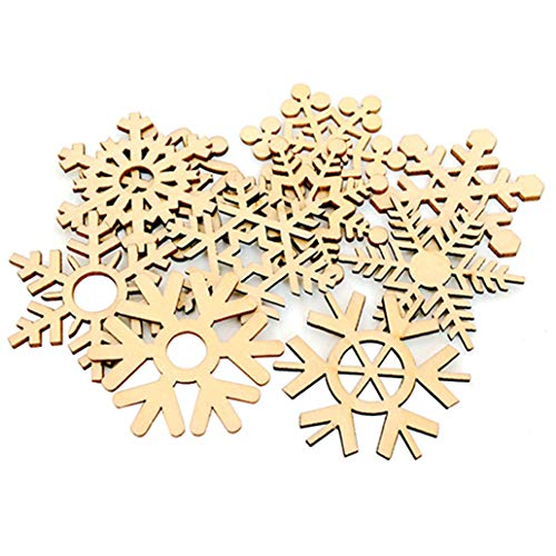 Super1798-10 copos de nieve de madera surtidos para decoración de árbol de boda