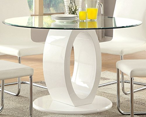 Furniture of America Quezon Round Glass Top Pedestal Dining Table, White