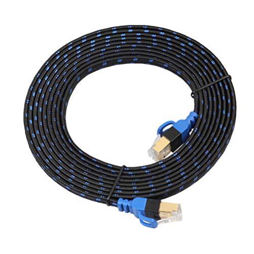 Mobestech Cable de Ethernet Cat7-2 10G Router de Computadora Cable Plano NAS Red de Alta Velocidad Profesional de Doble Blindaje con Malla de Fibra para Impresora de Módem de PC 5M