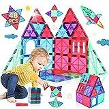 Bloques de Construcción Magnéticos Niños y Niñas de 3 4 5 6 7 8 Años 48 Piezas Juguete Educativo con Figuras Geométricas Juguetes Construcciones Tile Magneticas