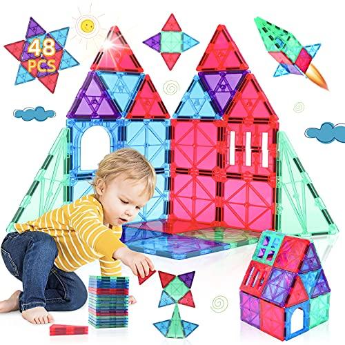 Costruzioni Magnetiche 3D 48 Pezzi Costruzioni per Bambini Giochi Educativi Gioco Bambini 3 4 5 6 7 8 Anni Giocattoli magnetici STEM Regalo Bambini Colorata e Durevole