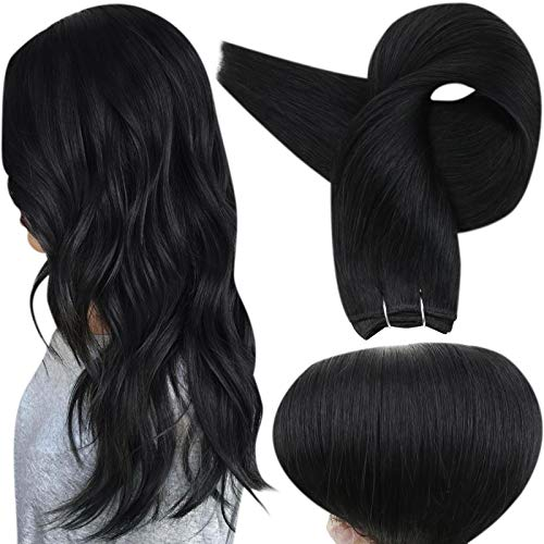 Full Shine Hair Weft Bundles Sew in Extensions Human Hair Solid Color 1 Jet Black Double Weft Real Remy Hair Weft Human Hair 22 Inch Silky Straight Hair Weft Brazilian Hair 100 Gram