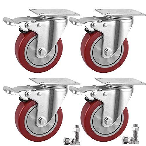 Ruote Per Carrello 100mm Ruote per mobile,con freno,Capacità di carico massima 600kg Set di 4 (4 con freno)