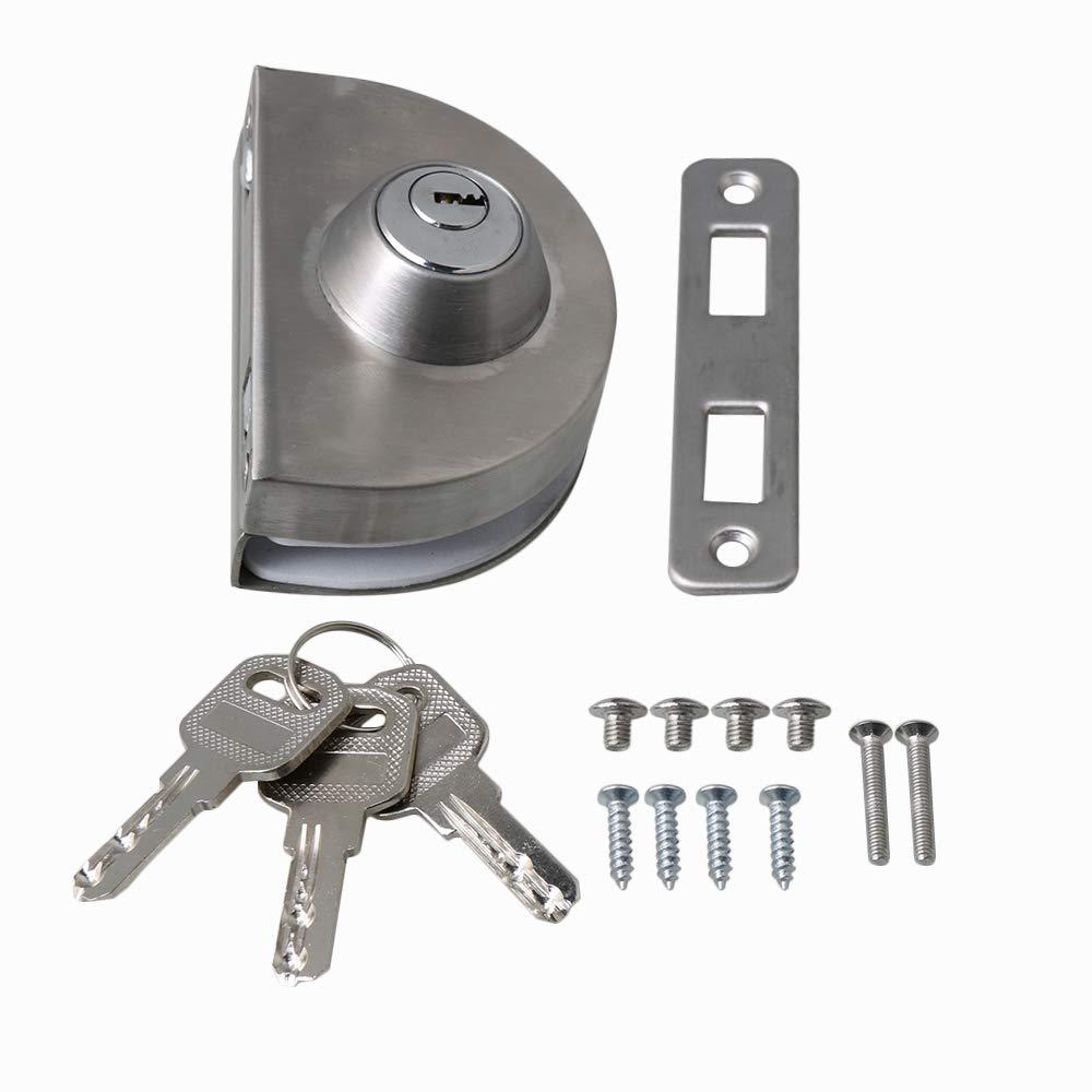 BQLZR - Cerradura de seguridad antirrobo con placa de metal para puerta corredera de 10-12 mm de grosor, color plateado: Amazon.es: Bricolaje y herramientas